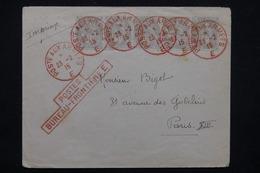 FRANCE - Affranchissement  Type Blancs Du Bureau Frontière E ( Cad Rouge ) Sur Enveloppe En 1915 Pour Paris - L 23213 - Marcophilie (Lettres)