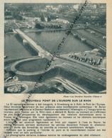 1960 : Document, STRASBOURG, KEHL, Inauguration Du Pont De L'Europe Sur Le Rhin, Aménagements Côté Allemand - Non Classés