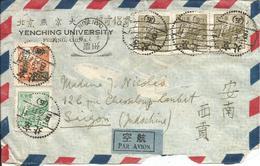 CHINE- Enveloppe Par Avion 1951 PEKIN à SAIGON Via CANTON N° Y&T 832A-838A-846 - 1949 - ... République Populaire
