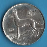 MALTA 1 LIRA 1977 KM# 45 Silver .925 Argent Maltese Hunting Dog Chien (Kalb Tel-Fenek) - Malta