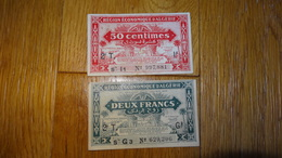 Billets De Necessite Region Economique D'Algerie 50c Et Deux Francs 1944 - 1939-45