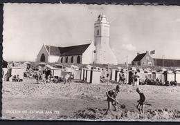 1965 Katwijk Aan Zee Strand En Kerk Z/w Gelopen Naar Legerplaats Oldenbroek - Katwijk (aan Zee)