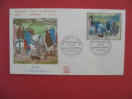 """FDC 1965  Août  """" La Chasse Au Faucon """"  Les Très Riches Heures Du Duc De Berry    Cachet  Chantilly    à Voir - 1960-1969"""