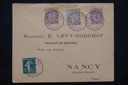 """FRANCE - Oblitération """" Nancy Kermesse """" Sur Type Blancs / Semeuse Sur Enveloppe Pour Nancy En 1913 - L 23215 - Marcophilie (Lettres)"""