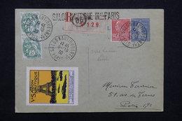 """FRANCE - Obl. """" Salon Nautique Paris """" Sur Type Blancs / Berthelot Sur Entier Postal En Reco En 1930, Vignette - L 23216 - 1921-1960: Période Moderne"""