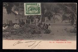 CHOCOLAT - CACAO - COCOA / 1905 CONGO FRANCAIS CPA PREPARATION DU CACAO (ref CP694) - Congo Français (1891-1960)