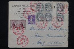 """FRANCE - Obli. """" Foire De Metz"""" En Rouge Sur Enveloppe En 1929 , Affr. Type Blancs / Orphelins / Semeuse - L 23217 - 1921-1960: Période Moderne"""