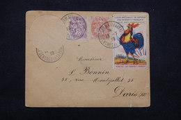 """FRANCE - Obli. """" Congrès De La Paix """" De St Germain En Laye Sur Type Blancs / Vignette En 1919 Pour Paris - L 23219 - Marcophilie (Lettres)"""