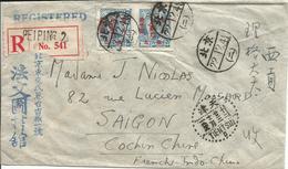 CHINE Du NORD- Enveloppe Recommandée 1950 PEIP ING à SAIGON  N° Y&T 5 Avec Surcharge Sur Le 572 - Chine Du Nord 1949-50