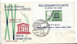 KO-S023 / UNESCO 15 Years,Minisheet With Symbolics Auf Brief - Korea (Süd-)