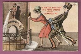 Cpa La Princesse Marie José Et Le Prince Umberto Visitant Manneken Pis - éditeur Marco Scans Recto Verso - Satiriques