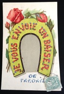 Je Vous Envoie Un Baiser De Tardais Belle Carte Fer à Cheval Roses à Lisle Par Pezou - France