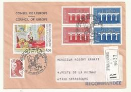 THEME EUROPE CONSEIL DE L'EUROPE EUROPA 1984  SUR LETTRE RECOMMANDEE - Marcophilie (Lettres)