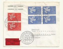 THEME EUROPE CONSEIL DE L'EUROPE EUROPA 1961  SUR LETTRE RECOMMANDEE - Marcophilie (Lettres)