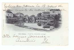 Cachet Convoyeur Ambulant Beaumont Sur Oise à Paris 1903 Cpa Isle Adam Pont Du Cabouillet Amont - Marcophilie (Lettres)