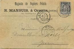 Dpts Div.-ref-AG149- Doubs - Ornans - Carte Correspondance Magasin Mansuis Papiers Peints - 62 Grande Rue - - Autres Communes