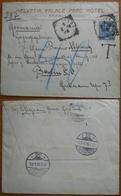 Tematica Alberghi 1908 Busta Dell'Hotel Helvetia Palace Parc Di Rapallo Per Berlino Affrancata 25 Cent.e Tassata Di 40. - 1900-44 Vittorio Emanuele III