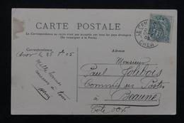 """FRANCE - Oblitération """" Camp D 'Avor """" Sur Type Blanc Sur Carte Postale En 1903 Pour Beaune - L 23225 - Marcophilie (Lettres)"""