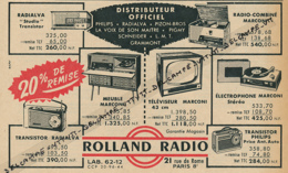 Ancienne Publicité (1960) : ROLLAND RADIO, Transistor, Electrophone, Téléviseur, Radialva, Marconi, Philips... - Publicités