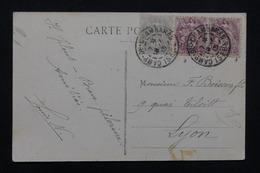 """FRANCE - Oblitération """" Camp De Chambaran """" Sur Type Blancs Sur Carte Postale En 1913 Pour Lyon - L 23226 - Marcophilie (Lettres)"""