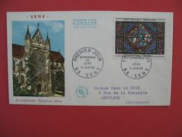 FDC 1965  La Cathédrale - Portail De Moise  Cathédrale De Sens   Cachet  Cathédrale    à Voir - 1960-1969