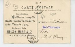 ORLEANS - Hôtel HARDOUINEAU - Carte PUB De Bonne Année 1907 De La MAISON MÉRÉ & Cie à ORLEANS - Orleans