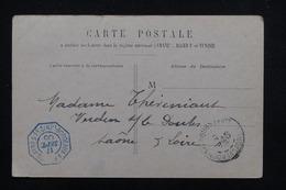 """FRANCE - Oblitération """" Bordeaux à Buenos Aires 1° LJ N°2  """" En Bleu Sur Type Blanc Sur Carte Postale En 1905 - L 23230 - Marcophilie (Lettres)"""