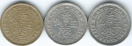 Hong Kong - George VI - 5 Cents - 1937 (KM20) 1939 (KM22) & 1950 (KM26) Security Edges - Hong Kong