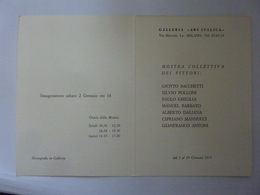 """Pieghevole  Invito """"Galleria ARS ITALICA Milano MOSTRA COLLETTIVA PITTORI Gennaio 1971"""" - Partecipazioni"""