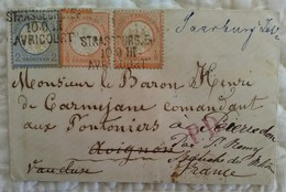 ENVELOPPE Tàd 10 9 III 1872 STRASBOURG AVRICOURT Alsace Allemagne Vers Pierredon (13) PD - Alsace-Lorraine