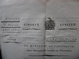 QUESTIONS RELATIVES AU MARIAGE 21 VENTOSE AN 7 DE LA REPUBLIQUE FRANCAISE SIGNE FRANCOIS DE NEUF CHATEAU - Decrees & Laws