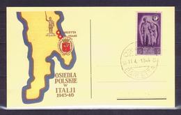 CARTOLINA - V6086 ITALIA CORPO POLACCO 1946 Cartolina Postale Affrancata Con 5 L. Soccorso Di Guerra E Annullo Di Barlet - 1946-47 Corpo Polacco