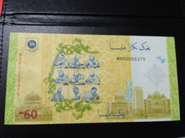 Malaysia 60 RM60 MRR0055375 Fancy Number 3 & 0 60th Indepedence UNC 2017 2018 - Malaysie