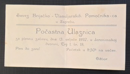 INVITATION, POZIVNICA KINGDOM OF YUGOSLAVIA ZAGREB JERONIMSKA DVORANA  ZABAVA S PLESOM BARBERS PARTY - Programs