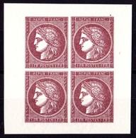 FRANCE N°6 TYPE CERES 1F CARMIN BLOC DE 4 TIMBRES EMIS PAR LE MUSEE  DE LA POSTE AVEC LES POINCONS D'ORIGINE ** - 1849-1850 Ceres
