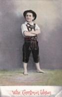AL46 Christmas Greeting - Young Boy In Lederhosen - Christmas
