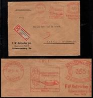 MOULES A CHOCOLATS / 1932 ALLEMAGNE SCHWARZENBERG EMA ILLUSTREE SUR LETTRE RECOMMANDEE POUR LA GRECE (ref 7510) - Alimentation