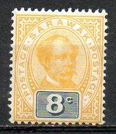 MALAISIE - SARAWAK - (Protectorat Britannique) - 1899-1900 - N° 38 - 8 C. Ocre Et Noir - (Sir Charles Johnson Brooke) - Sarawak (...-1963)