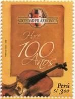 Lote P2008-10, Peru, 2008, Sello, Stamp, Sociedad Filarmonica 100 Años, Music, Philharmonic Society - Perú