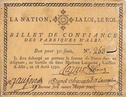 BILLET DE CONFIANCE DES FABRIQUES D'ALBI BON POUR 30 SOUS ANNEE 1791 - Assignats & Mandats Territoriaux
