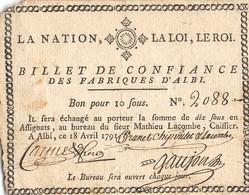 BILLET DE CONFIANCE DES FABRIQUES D'ALBI BON POUR 10 SOUS ANNEE 1791 - Assignats & Mandats Territoriaux