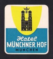 Etiquette HOTEL MÜNCHNER HOF.  Munich.  Allemagne.   Luggage Label. - Hotel Labels