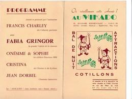 Ancien Menu Le Mikado Reveillon Roulevard Rochechouart Paris Francis Charley Fabia Gringor Jean Dorbel - Menus