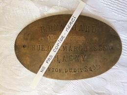 77 - LAGNY - Plaque De Proprietaire En Laiton  - R.BEAUJARD - Boucher Rue Des Marchés à Lagny - Autres Collections
