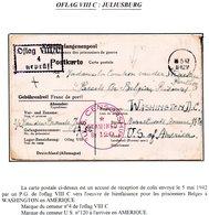 Kriegsgefangenenpost Prisonnier1942 OFLAG VIII C JULIUSBURG Parcels For Belgian Prisoners Washington U.S.A. Censure U.S. - Guerra '40-'45