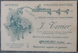 Ancienne Carte De Visite Début 20 Eme Orfèvrerie Horlogerie Bijouterie J Terrier Charlieu Loire Art Nouveau - France