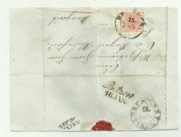 FRANCOBOLLO  DA 3  KREUZER BRUNECK 1853  SU FRONTESPIZIO - 1850-1918 Keizerrijk