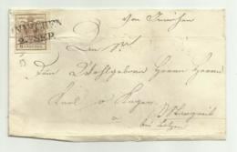 FRANCOBOLLO  DA 6  KREUZER 1853   SU FRONTESPIZIO - Usati