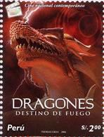 Lote P2006-8, Peru, 2006, Sello, Stamp, 2 V, Dragones, Dragon, Cine - Perú