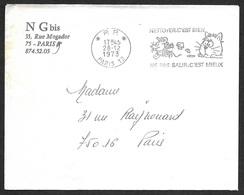 1973 -  Nettoyer C'est Bien Ne Pas Salir C'est Mieux - En Guise D'affranchissement  Sur Enveloppe Entière - Marcophilie (Lettres)